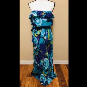 Trina Turk Silk Maxi Floral Dress strapless sz 12